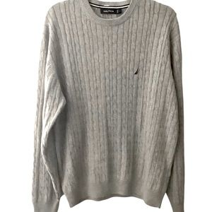 NAUTICA Cable Knit Crew Neck Sweater Gray Large